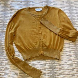 Snobby Sheep silk Cashmere mustard yellow cardigan sweater 40